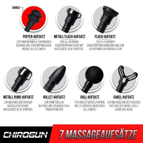 ChiroGun Massagegerät 7 Aufsätze